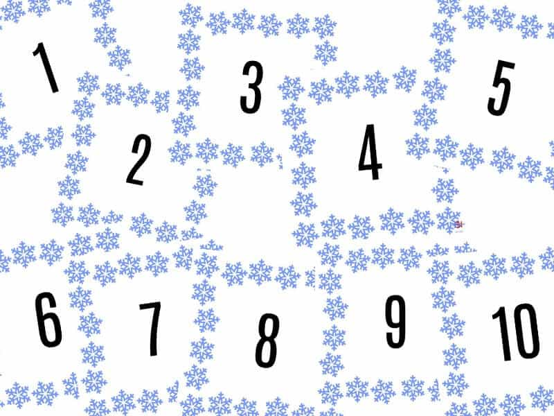 ten numbered  snowflake score cards