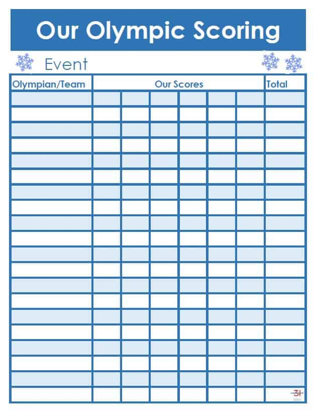 Olympic scoring sheet in blue with snowflakes
