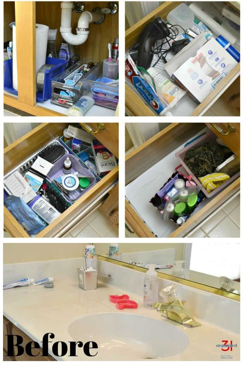 Bathroom cabinet drawers and counter with clutter