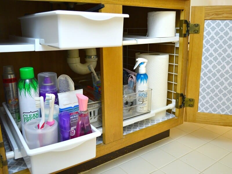 Bathroom cabinet with two shelf organizer with drawers