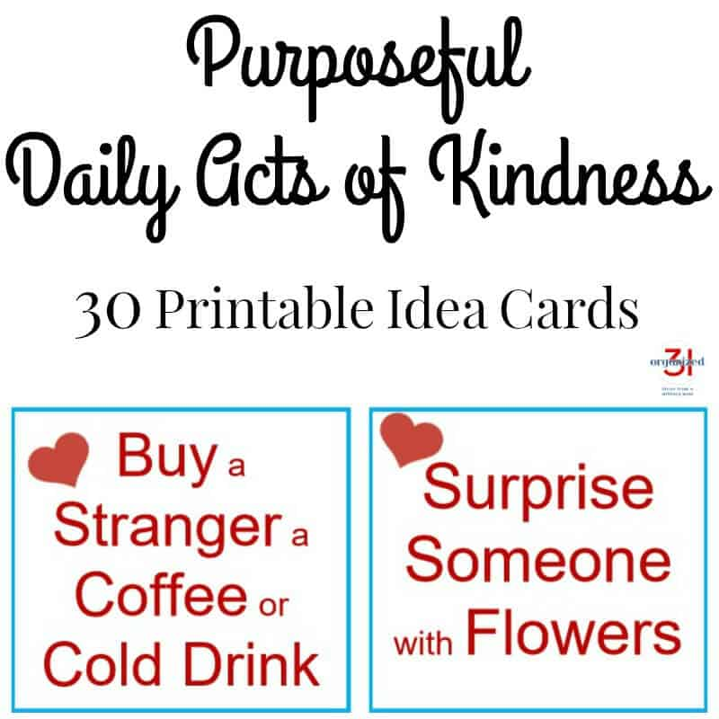 Make a positive impact in your community by performing purposeful acts of kindness. These free printable idea cards give you a month's worth of daily acts of kindness ideas. Keep them in your planner or pocket as a reminder.