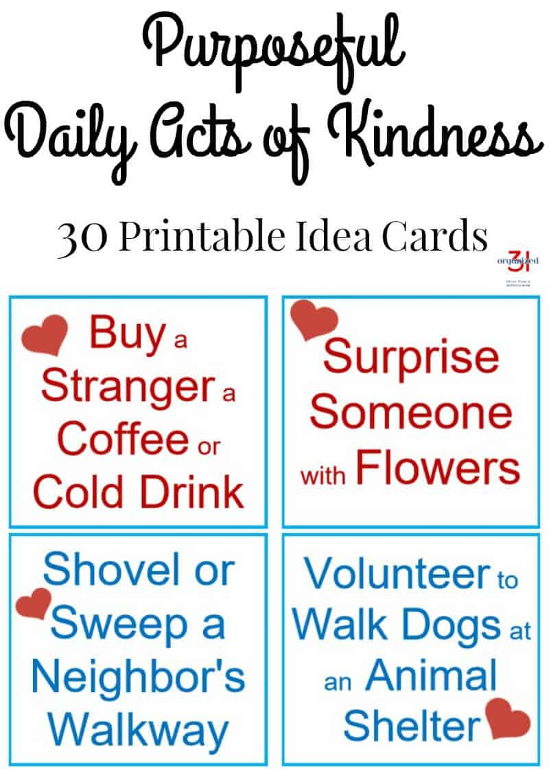 graphic regarding Kindness Cards Printable titled Useful Every day Functions of Kindness (30 Printable Strategy Playing cards