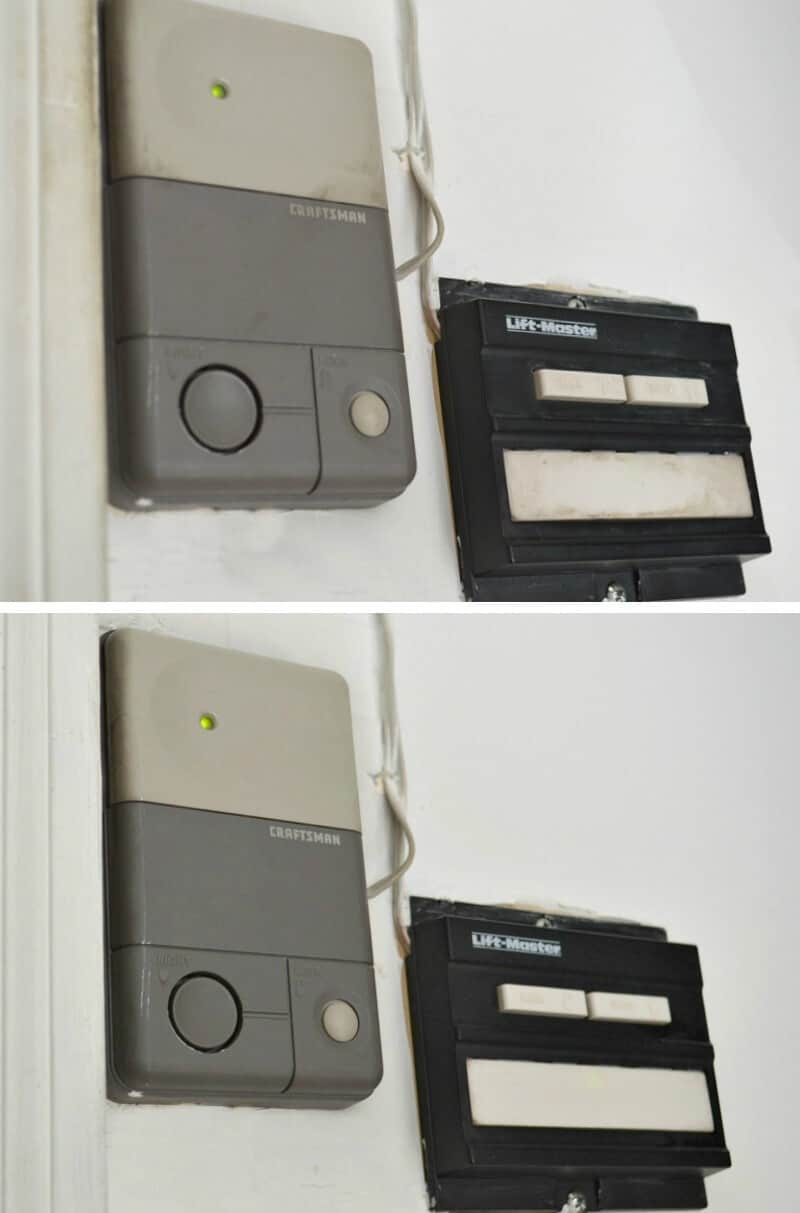 Garage door openers before and after cleaning