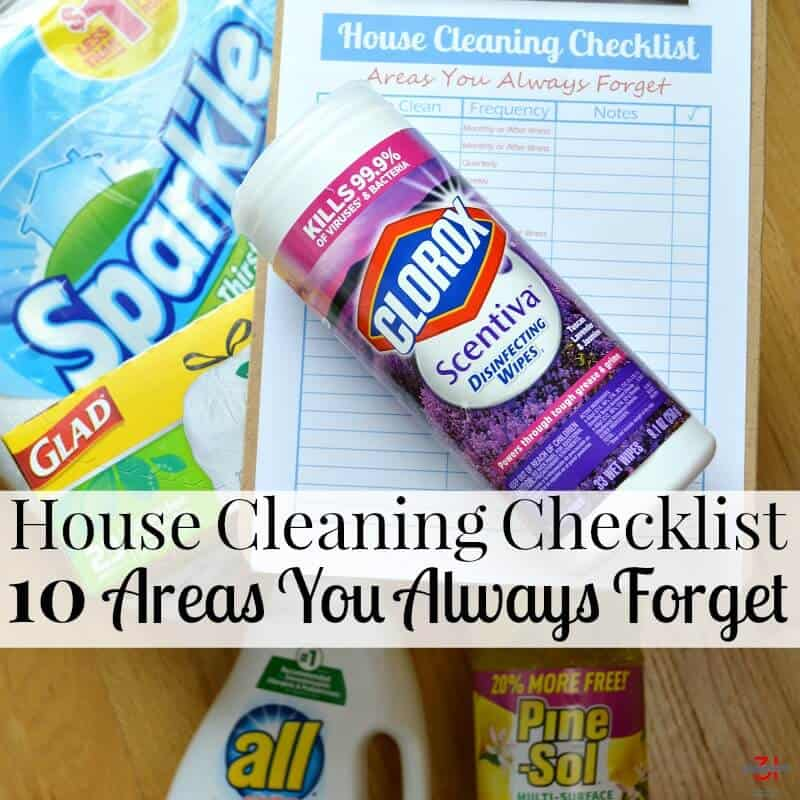 House Cleaning Checklist and cleaning supplies