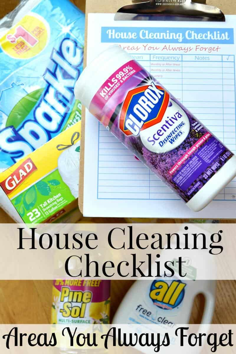 A free printable house cleaning checklist for those areas you've probably forgotten. Life is busy and it's easy to forget these areas that need to be cleaned on schedule.