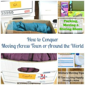 Collage of 5 photos of packing and moving with text overlay