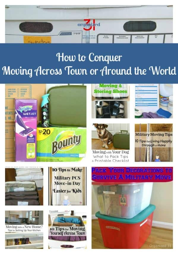 collage of 11 images of moving boxes, checklists and moving related topics with title text reading How to Conquer Moving Across Town or Around The World
