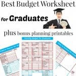 Man in graduation gown with handful of money and 3 images of budget worksheets
