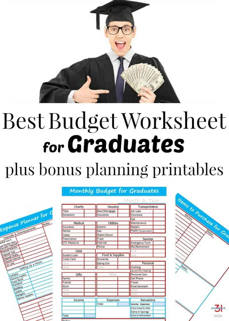 Knowing how to manage your finances when you're on your own can be a challenge. The best budget worksheet for graduates plus bonus free printables will help you get started managing your money.