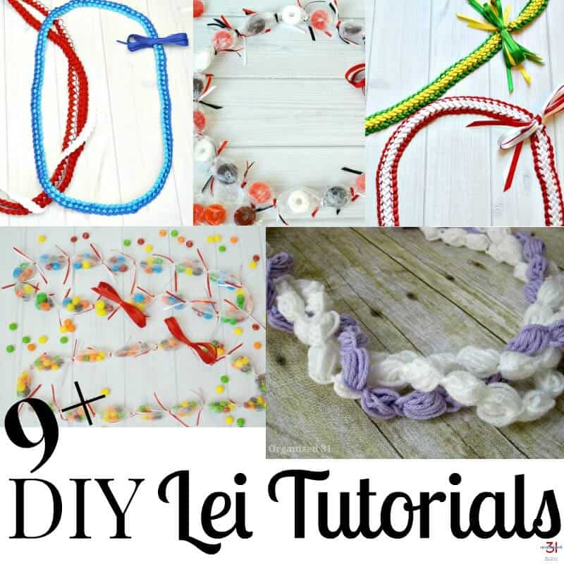 collage of 5 lei tutorial images with text overlay