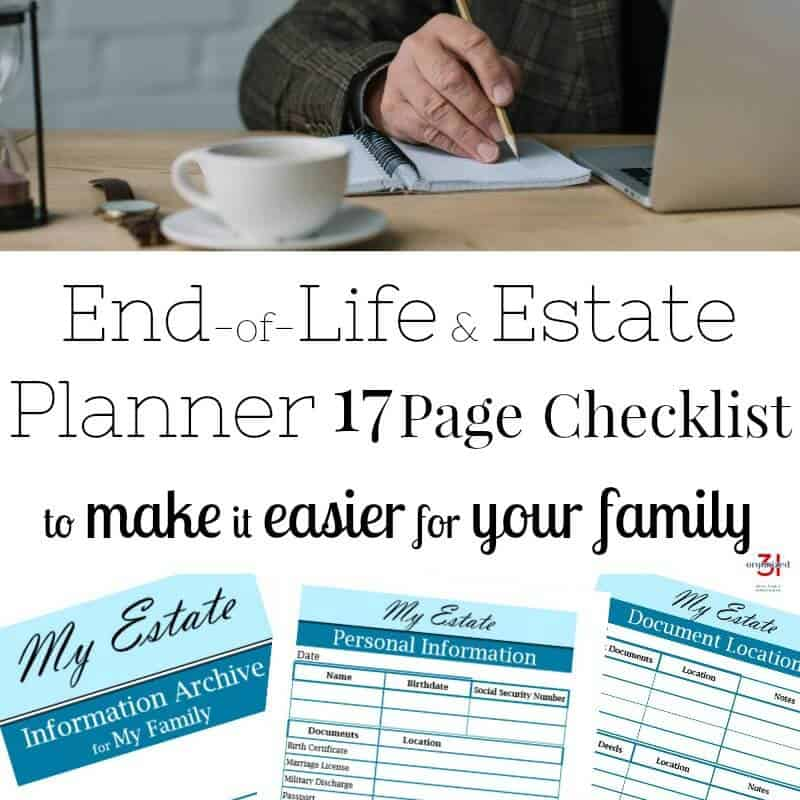Man writing in notebook with laptop and cup of coffee, And images of 3 estate planning worksheets