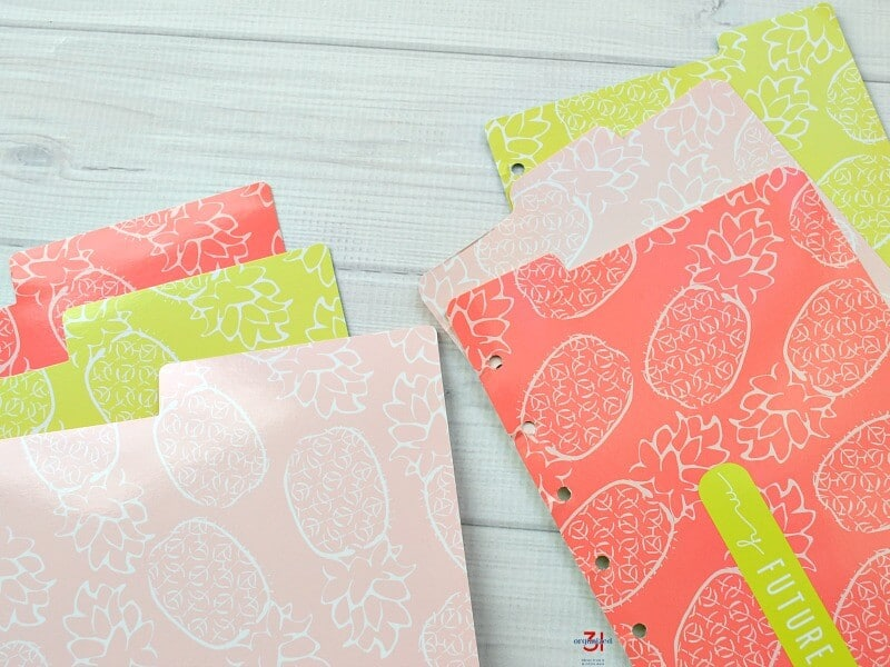 3 colorful file folders next to 3 top tab planner dividers from the same patterns