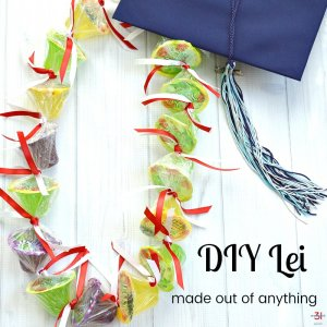 candy lei with red and white ribbon and blue mortar board with text overlay