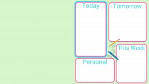 light green rectangle with 4 white organizing blocks.