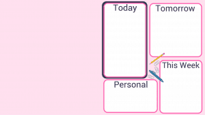 pink rectangle with 4 white organizing blocks