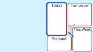 blue rectangle with 4 white organizing blocks