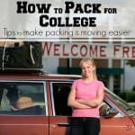 "woman in pink shirt standing by packed red car in front of banner saying ""welcome freshmen"" with text overlay"
