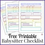 Babysitter Information Sheet Free Printable