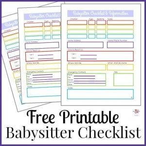 Babysitter Information Sheet Free Printable