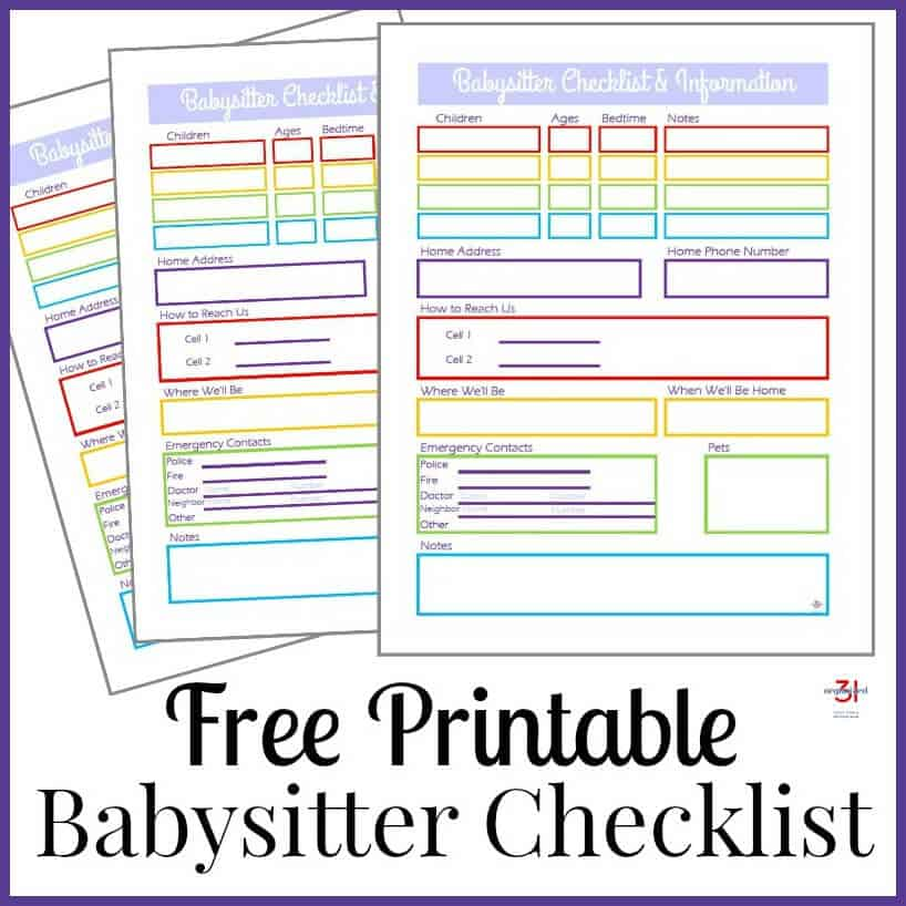 Agile image within babysitter info sheet printable