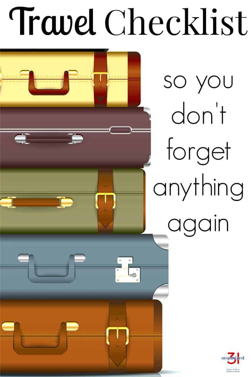"stack of 5 different color suitcases on left and text on right ""so you don't forget anything again"""