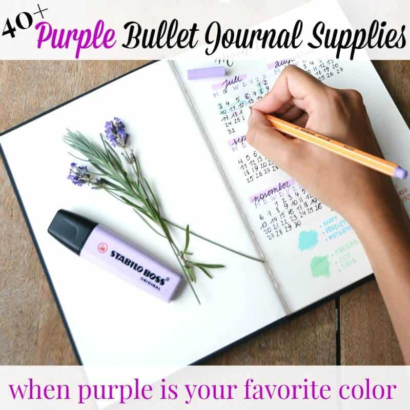 hand writing in journal with pencil, with purple flowers and purple highlighter on the side