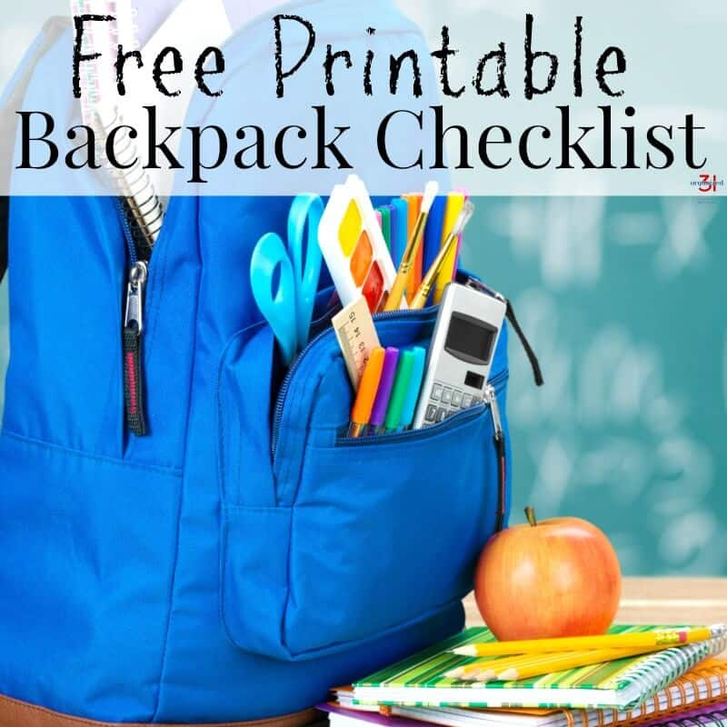 Printable backpack checklist to teach your child responsibility and independence in remembering items needed to go to school and to bring home from school.