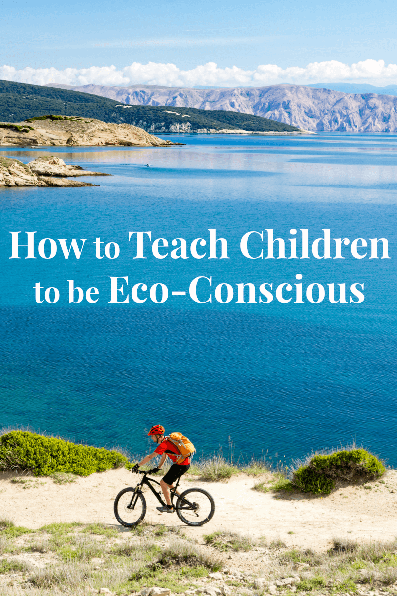 child in red riding bike next to ocean cliff with title text reading How to Teach Children to Be Eco-Conscious