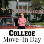 "girl standing in front of packed red car with banner on college building saying ""welcome freshman"""