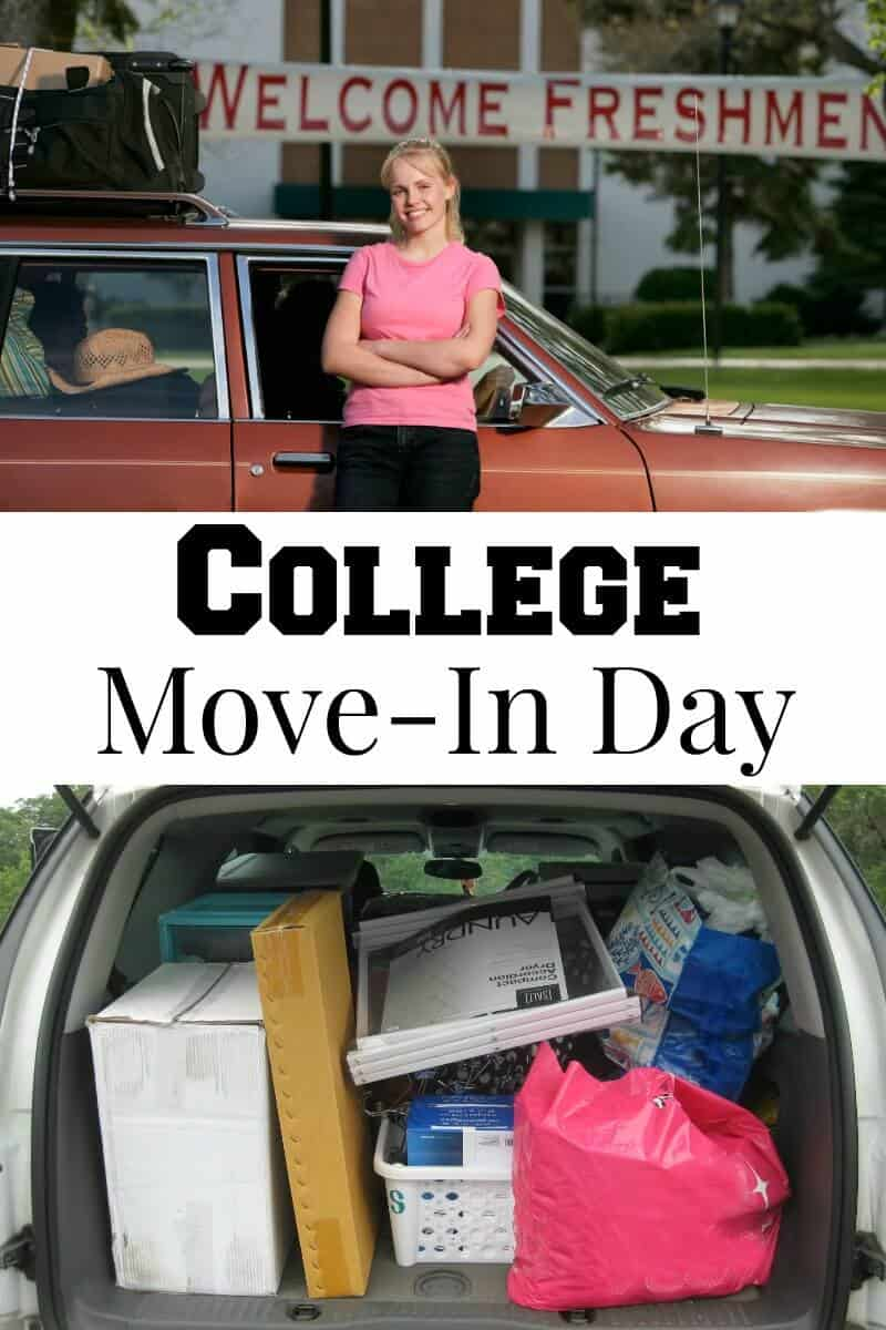 "top image - girls smiling in front of packed car with sign behind saying ""welcome freshman"", bottom image - car packed with boxes and bags"