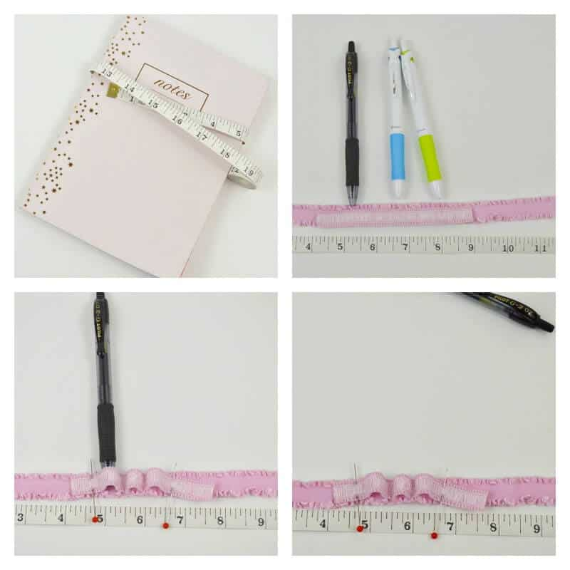 collage of 4 images on how to make a journal pen strap