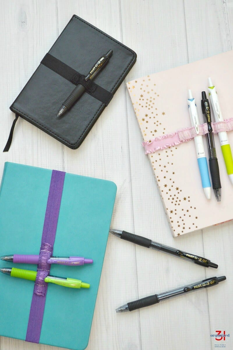 Keep favorite pens with your journal or planner by making a DIY Pen Strap. Carry 1 pen or as many as you want. Make it in a coordinating or favorite color. #PowerToThePen #PilotYourLife [ad]