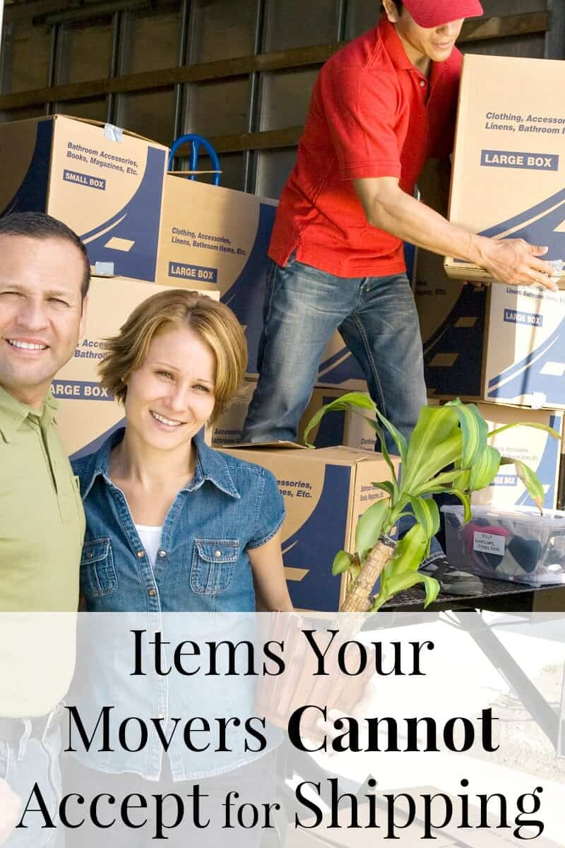smiling couple at back of moving truck with mover and pile of boxes with title text overlay reading Items Your Movers Cannot Accept for Shipping