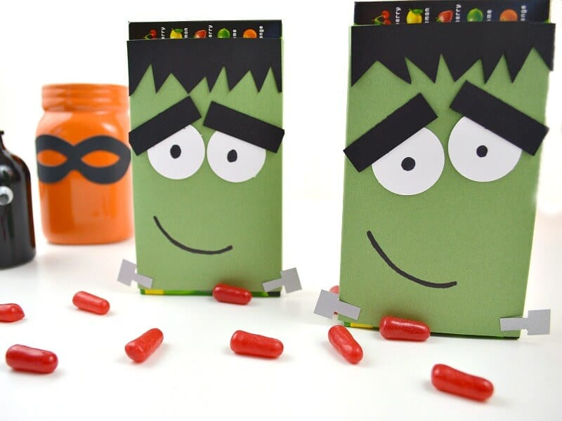 Two DIY Frankenstein candy wrappers for boxed candy.