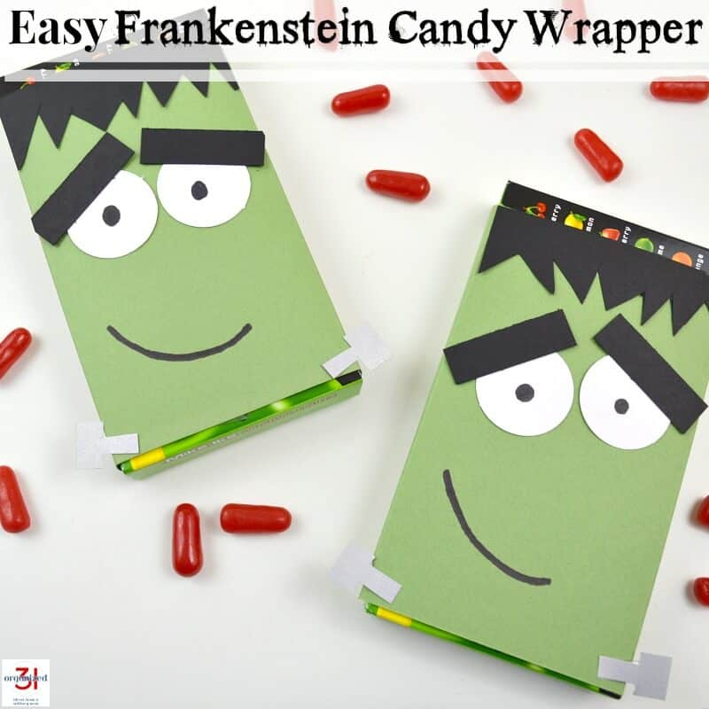 Two Frankenstein candy wrappers with scattered candy and text.