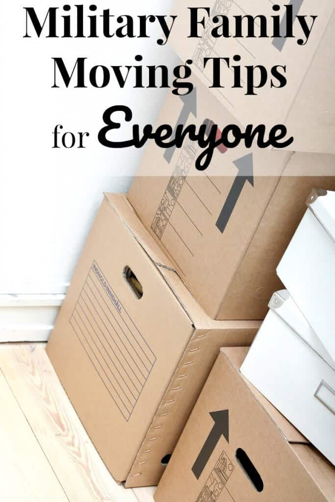 """Stack of moving boxes with text """"military family moving tips for everyone"""""""
