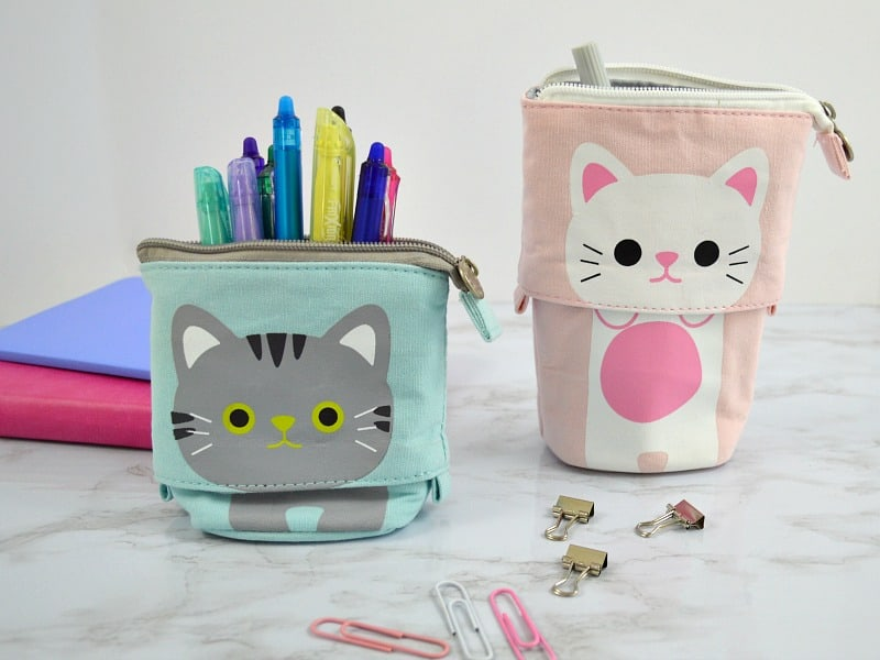 2 push case pencil pouches, one pink and one blue