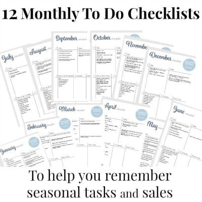 images of 12 checklists for each month with text overlay