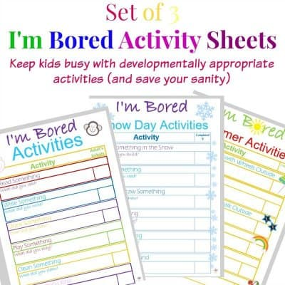 images of three activity worksheets for to keep children from being bored