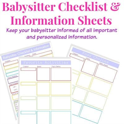 images of 3 babysitter checklists in purple and rainbow colors