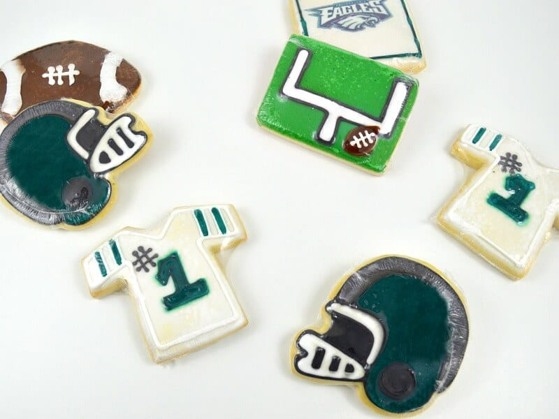 Football themed green & white cookies