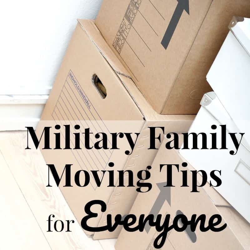 stack of brown moving boxes and white smaller boxes with text overlay reading Military Family Moving Tips for Everyone