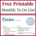 October To Do Checklist Free Printable