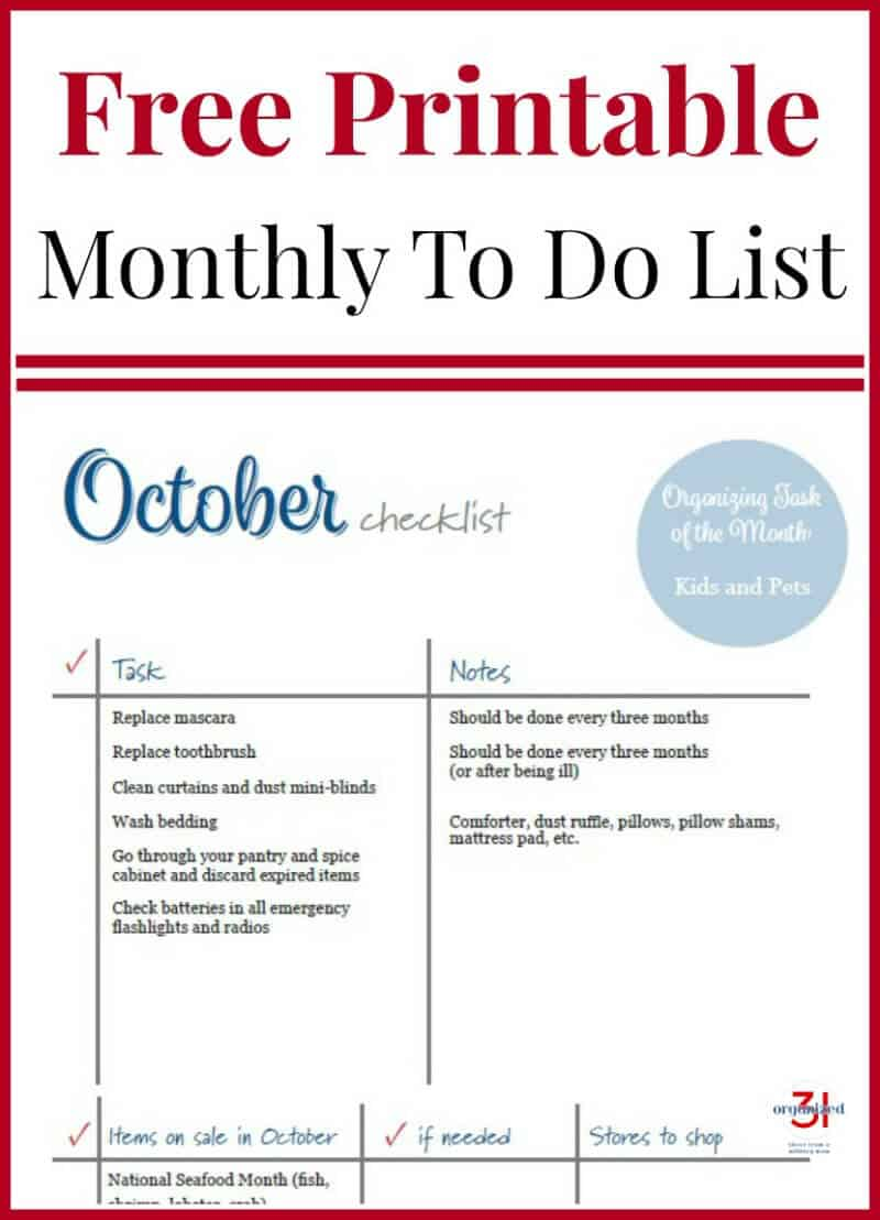 photo about Spice List Printable named Oct Toward Do List Cost-free Printable - Ready 31