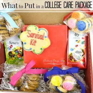 Close of up of college care package with cookies & candy with text overlay