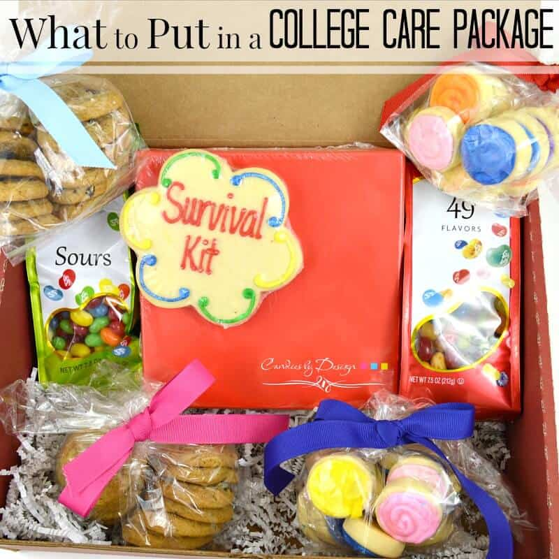 Close of up of college care package with cookies & candy