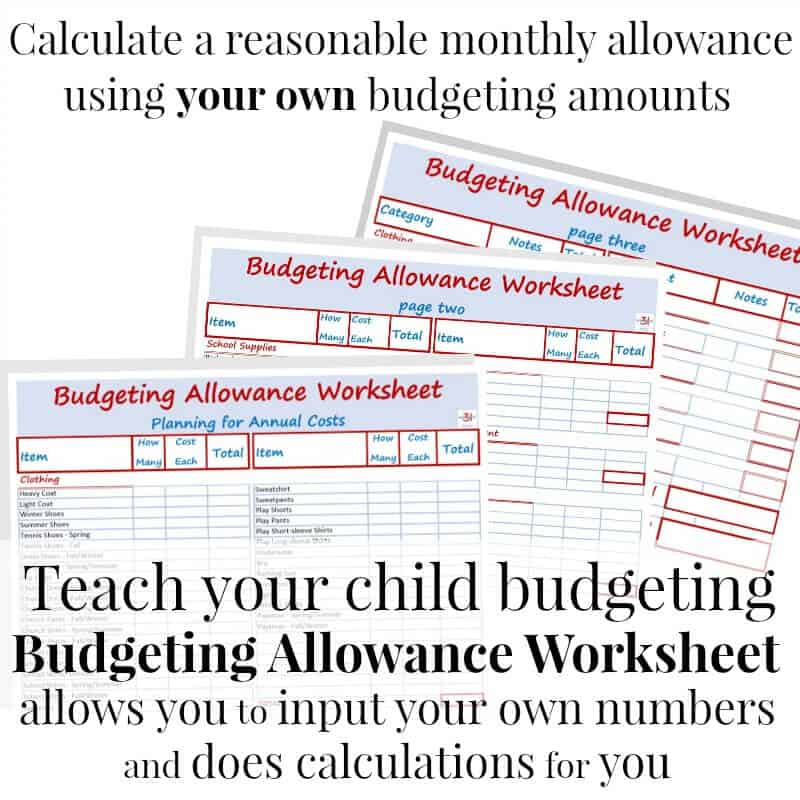 Budgeting Allowance Worksheet Editable Organized 31