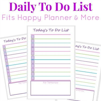Image of 3 purple, green and pink printable to do lists