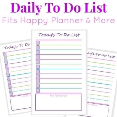 Image of 3 purple, green and pink printable to do lists