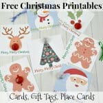 7 Christmas cards with ribbons and chocolate candy and text overlay